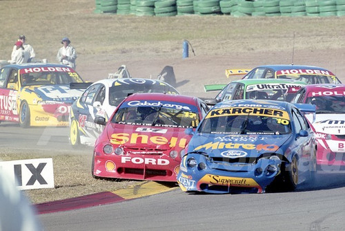 200109 - Mark Larkham, Ford Falcon AU & Steven Johnson, Falcon AU XR8 - Oran Park 2000 - Photographer Marshall Cass