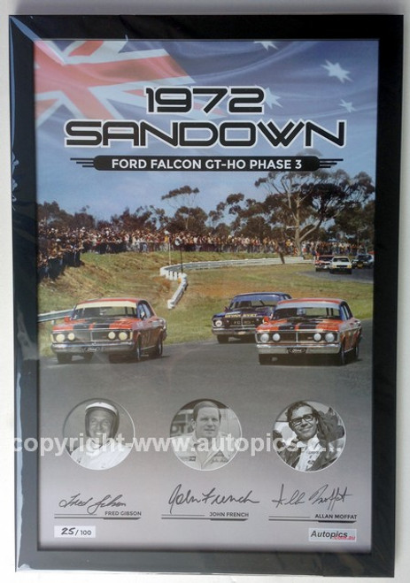 181 -  Falcon XY GTHO Framed Poster - Sandown 1972 - Personally Signed By Allan Moffat, John French & Fred Gibson