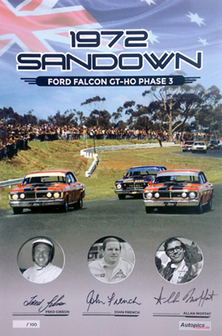181 -  Falcon XY GTHO Poster - Sandown 1972 - Personally Signed By Allan Moffat, John French & Fred Gibson