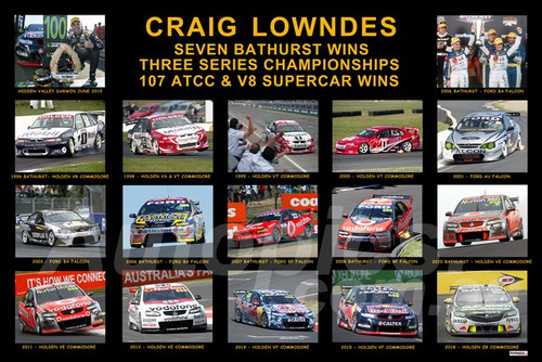 1195 - Craig Lowndes - A collage of his seven Bathurst wins and three 100 ATCC wins.