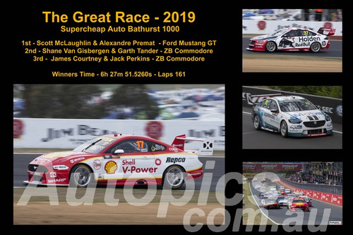 660 - The Great Race 2019 - A collage of 4 photos showing the first three place getters from  Bathurst 2019 with winners time and laps completed.