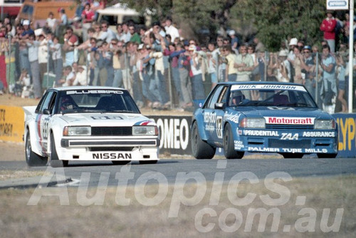 83106 - George Fury Nissan Bluebird & Dick Johnson Falcon XE - Wanneroo April 1983 - Photographer Tony Burton