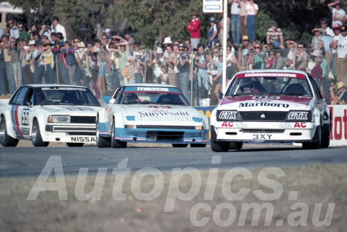 83108 - Peter Brock Commodore, Allan Moffat Mazda RX-7 & George Fury Nissan Bluebird - Wanneroo April 1983 - Photographer Tony Burton