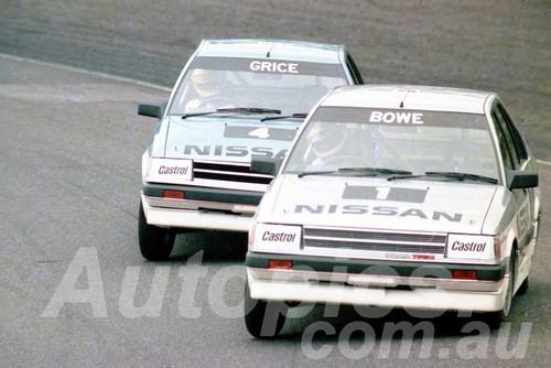 85072 - John Bowe & Allan Grice, Nissan Trbo - Amaroo July 1985 - Photographer Lance J Ruting