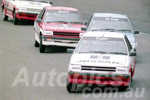85073 - George Fury, Nissan Trbo - Amaroo July 1985 - Photographer Lance J Ruting
