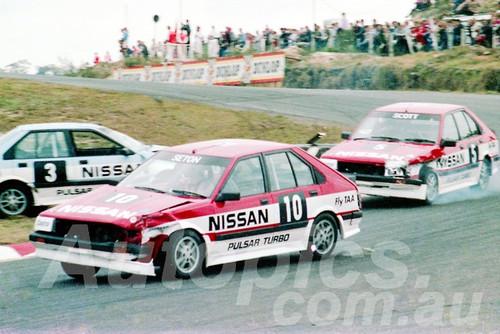 85076 - Glenn Seton & Gary Scott Nissan Trbo - Amaroo July 1985 - Photographer Lance J Ruting