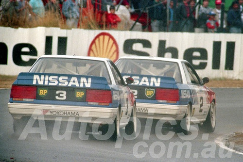 89071 - Jim Richards & George Fury, Nissan Skyline  - ATCC Round 4  Wanneroo April 1989 - Photographer Tony Burton