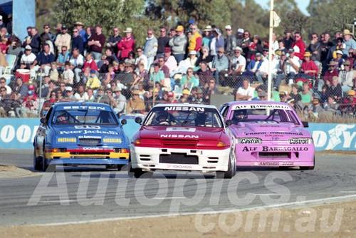 90035 - Jim Richards, Nissan Skyline, Glenn Seton, Seirra RS500 & Alf Barbagallo Holden VL Commodore - Wanneroo  24th June 1990 - Photographer Tony Burton