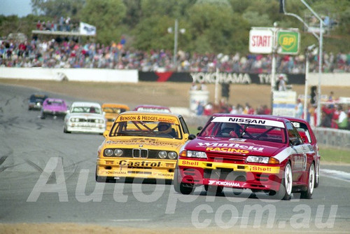 92066 - Jim Richards, Nissan Skyline & Alan Jones BMW M3  - Wanneroo  June 1992 - Photographer Tony Burton