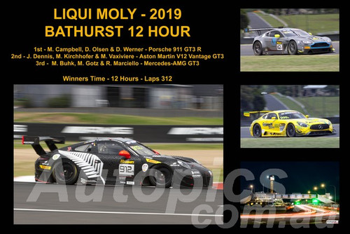 19401-1 - A Collage of the First Three Place Getters - Bathurst 12 Hour Winner 2019