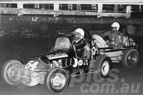 66112 - Lew Marshall #54 - Ray Noble - Sydney Showground Speedway