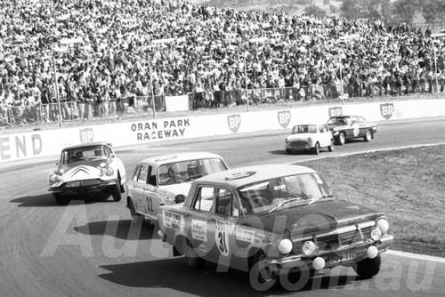 71551 - Mick Madden EH Holden & Peter Navin, Austin 1800 - Dulux Rally Oran Park 1971 - Photographer Lance Ruting
