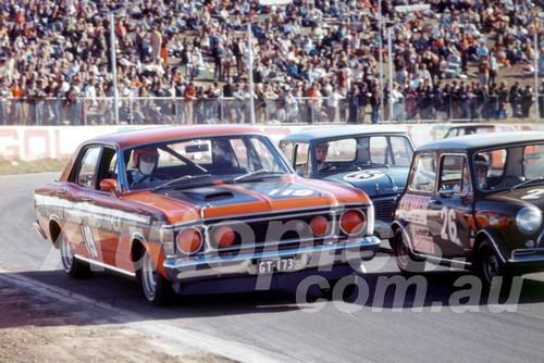 700031 - Max Douglas, Falcon XW GTHO, Darrell King & David Condon, Morris Cooper S - Oran Park 1970 - Photographer Lance J Ruting