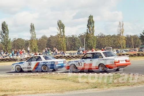 86107 - George Fury, Nissan Skyline & Robbie Francevic, Volvo 240T - Symmons Plains, 9th March 1986 - Photographer Keith Midgley
