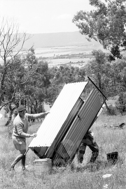 67328 - Not sure if they are putting up the Dunny or taking it down - Australian Hill Climb Championships Bathurst 26th November 1967 - Photographer Lance J Ruting