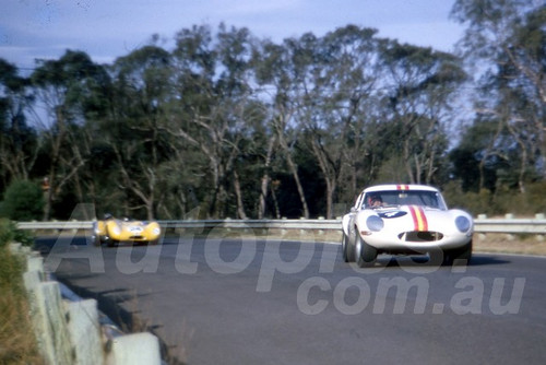 66121- Bob Jane E Type Jaguar  & Pete Geoghegan Lola Climax - Warwick Farm 13th February 1966 - Photographer Derek Hinde