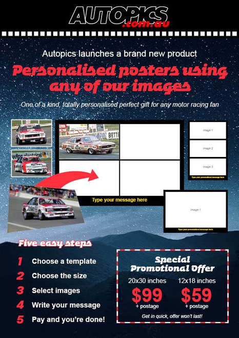 Personalised Poster One, 20x30 inches (508x762mm), Four Images and a caption of your choice, landscape format.