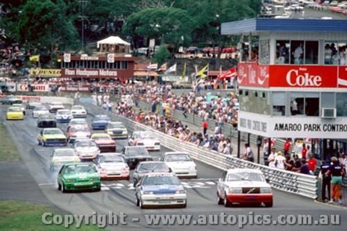 86017 - Start of the 1986 ATTC - Robbie Francevic  Volvo 240 Turbo on pole position. - Amaroo 1986