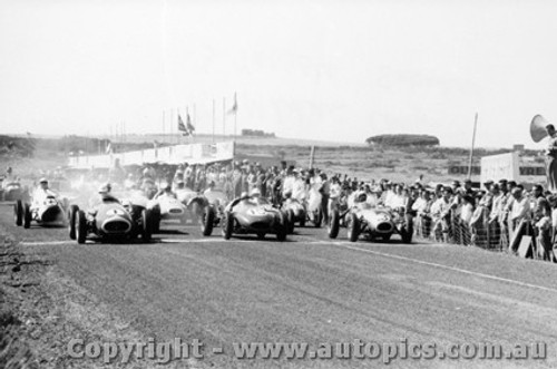 58540 - S. Jones Maserati 250F/ A. Milren Cooper Climax /  Ern Tadgell Sabakat - Phillip Island  Gold Star Race 26th December  1958 - Photographer Peter D Abbs