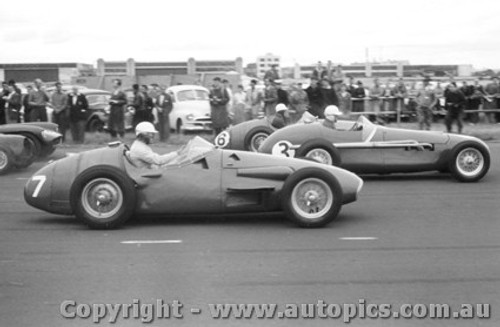 58546 - #7 B. Stillwell Maserati / #3 E. Gray Tornado / #6 S. Jones Maserati -  Fishermen s Bend 22nd February 1958 - Photographer Peter D Abbs