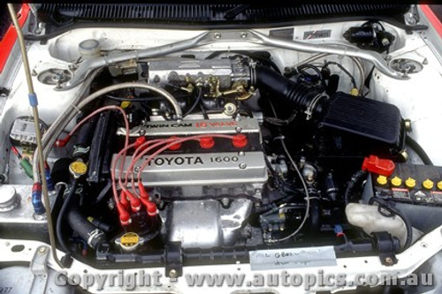 91755  - Under the Bonnet of one of the Toyota Corolla s  -  Bathurst 1991