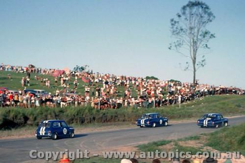 64051 - N. Beechey Hold EH S4 /  J. McKeown Lotus Cortina / P. Manton Morris Cooper S - A rare shot of the three Neptune cars together - Lakeside 1964 - Photographer John Stanley