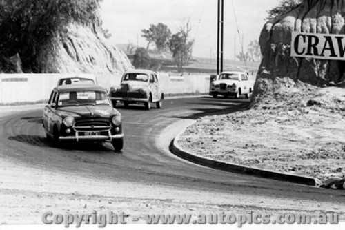 61007 - L. Graham - Peugeot - #95 - K. Lawson - Peugeot - #44 - P. Moll - Wolseley - Hume Weir - 13th March 1961 - Photographer Peter D Abbs