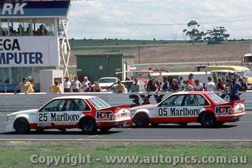 83018 - Peter Brock  and Larry Perkins Holden Commodore VH - Calder Park Raceway 1983 - Photographer Peter Green