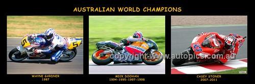 Australian Motor Bike World Champions -  - Wayne Gardner - Mick Doohan - Casey  Stoner  - 30x10 inches  Panoramic