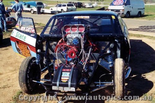 91903 - Ben Gatt  Quaker State Ford Falcon - Eastern Creek Drags 1991_ Photographer Lance J Ruting