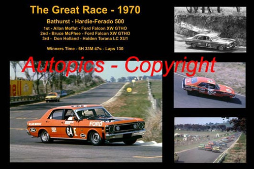 601 - The Great Race 1970 - A collage of the first three place getters from  Bathurst 1970 with winners time and laps completed.