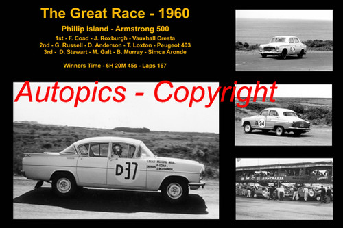 591 - The Great Race 1960 - A collage of the first three place getters from  Phillip Island 1960 with winners time and laps completed. F Coad / Roxburgh Vauxhall Cresta Russell / Anderson / Loxton Peugeot 403 Stewart / Galt / Murray / Simca Aronde