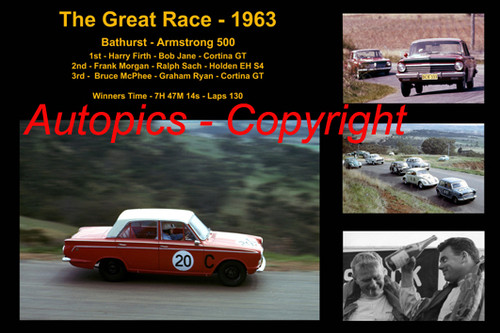 594 - The Great Race 1963 - A collage of the first three place getters from  Bathurst 1963 with winners time and laps completed.