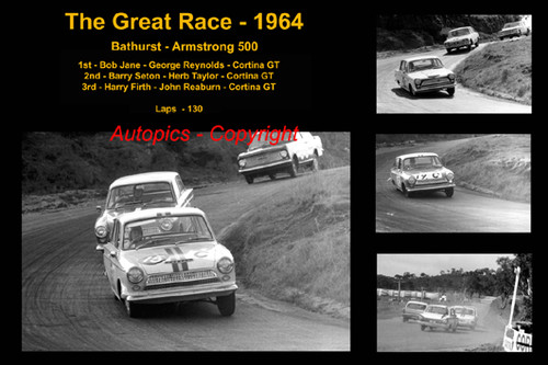 595 - The Great Race 1964 - A collage of the first three place getters from  Bathurst 1964 with winners time and laps completed.