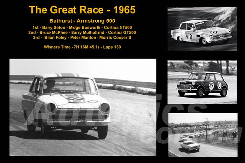 596 - The Great Race 1965 - A collage of the first three place getters from  Bathurst 1965 with winners time and laps completed.