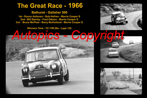 597 - The Great Race 1966 - A collage of the first three place getters from  Bathurst 1966 with winners time and laps completed.