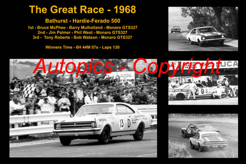 599 - The Great Race 1968 - A collage of the first three place getters from  Bathurst 1968 with winners time and laps completed.