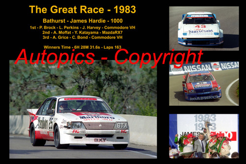 614 - The Great Race 1983 - A collage of the first three place getters from  Bathurst 1983 with winners time and laps completed.