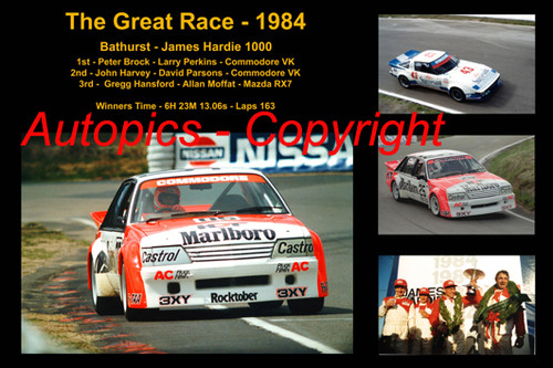 615 - The Great Race 1984 - A collage of the first three place getters from  Bathurst 1984 with winners time and laps completed.