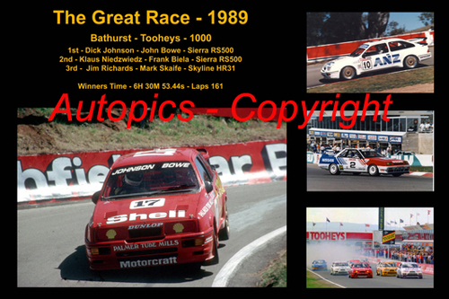 620 - The Great Race 1989 - A collage of the first three place getters from  Bathurst 1989 with winners time and laps completed.