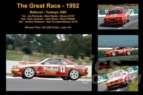 623 - The Great Race 1992 - A collage of the first three place getters from  Bathurst 1992 with winners time and laps completed.