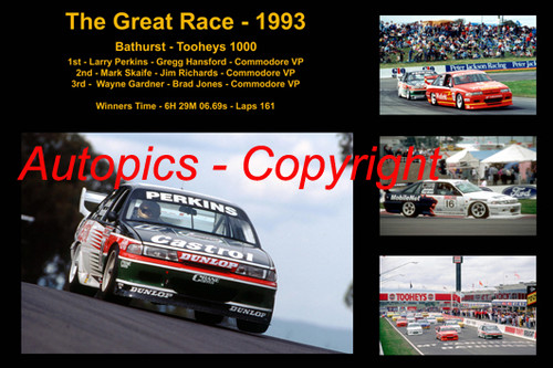 624 - The Great Race 1993 - A collage of the first three place getters from  Bathurst 1993 with winners time and laps completed.