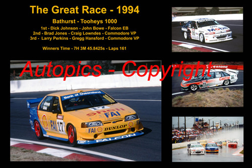 625 - The Great Race 1994 - A collage of the first three place getters from  Bathurst 1994 with winners time and laps completed.