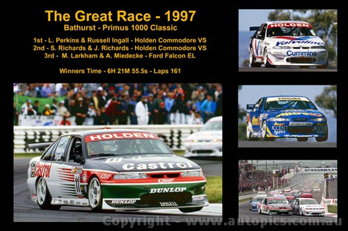 628 - The Great Race 1997 - A collage of the first three place getters from  Bathurst 1997 with winners time and laps completed.