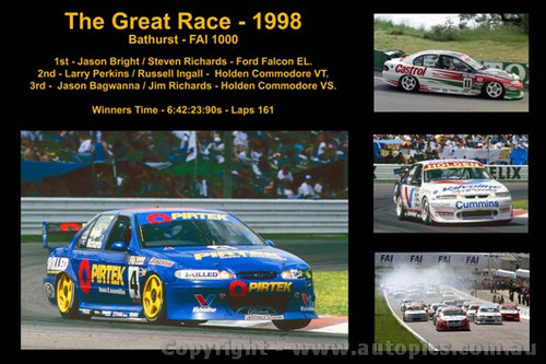 629 - The Great Race 1998 - A collage of the first three place getters from  Bathurst 1998 with winners time and laps completed.