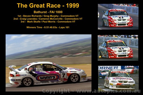 630 - The Great Race 1999 - A collage of the first three place getters from  Bathurst 1999 with winners time and laps completed.