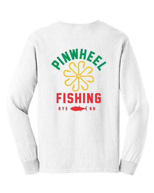 Pinwheel Fishing White Long Sleeve T-shirt