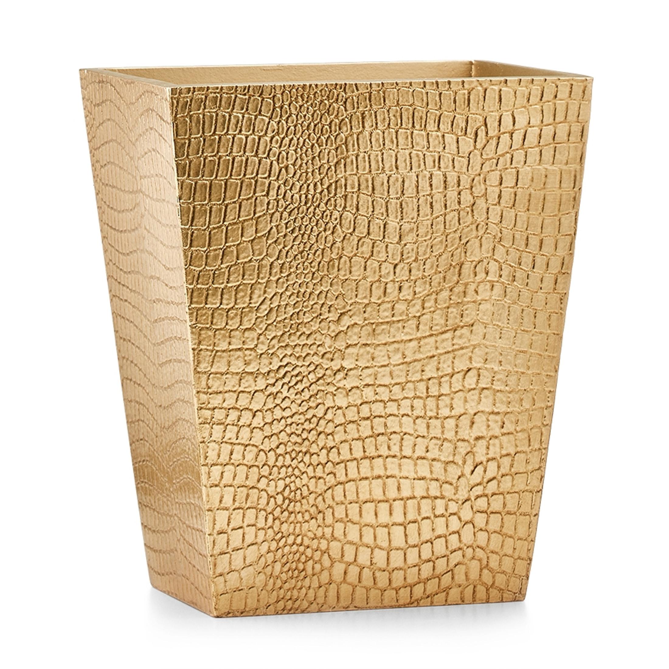 Crocodile Gold Waste Basket