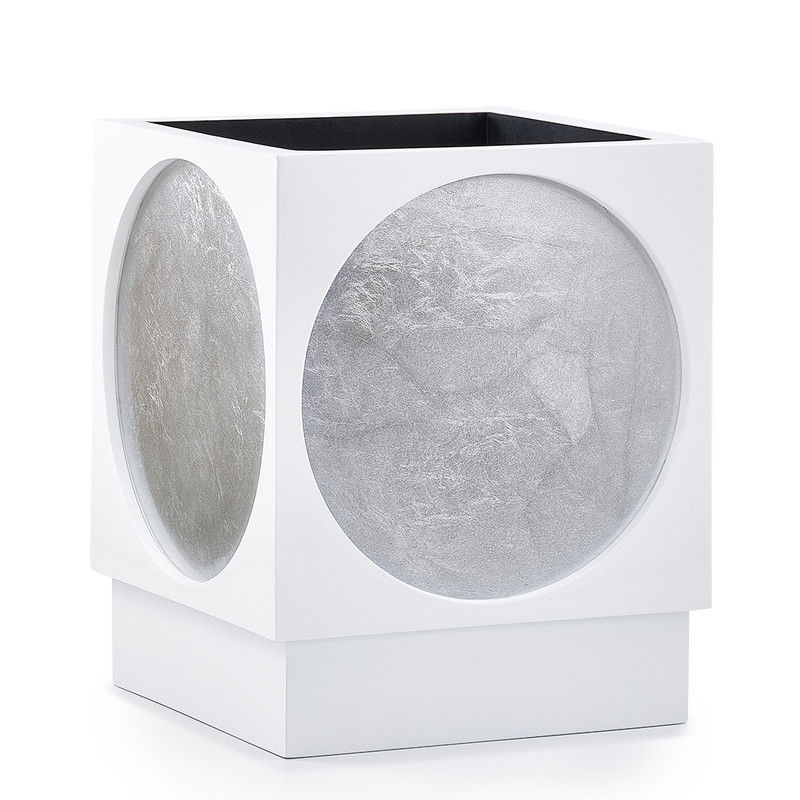 Moongate Silver Waste Basket