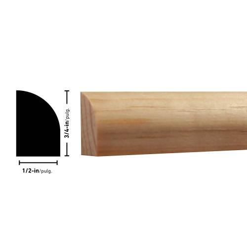 "126 Pine Shoe Moulding - 1/2"" x 3/4"""